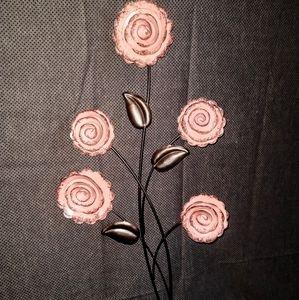 Kohl's- 5 Pink/Metal Rose Bouquet Hanging Decor